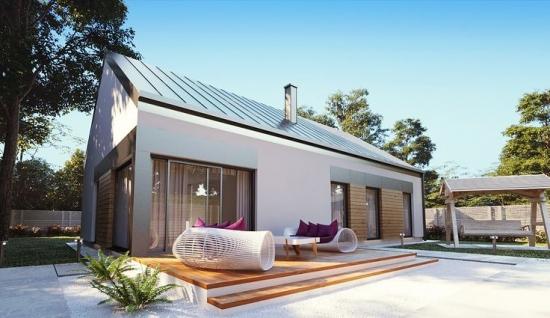 Proiect simplu de casa doar parter. Are suprafata de 123 mp, 3 dormitoare plus 2 bai