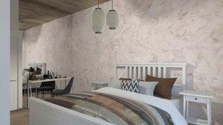 Dormitor mic amenajat in culori deschise si perete cu oglinda