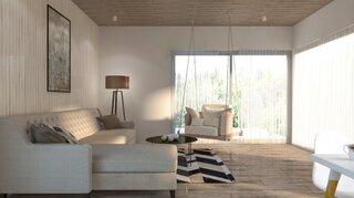 Living open space amenajat in culori neutre