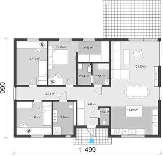 Plan casa parter 123 mp cu 3 dormitoare si 2 bai