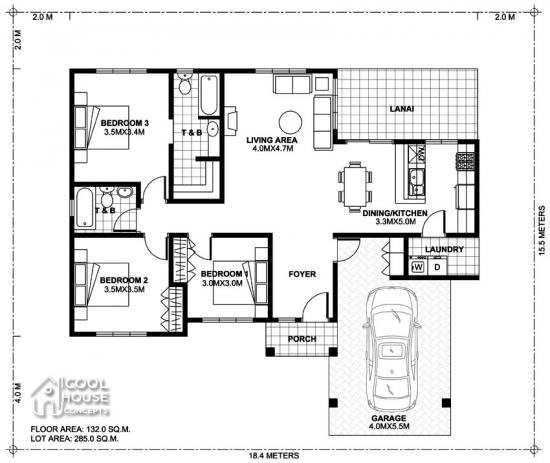 Plan parter casa 3 dormitoare terasa si garaj