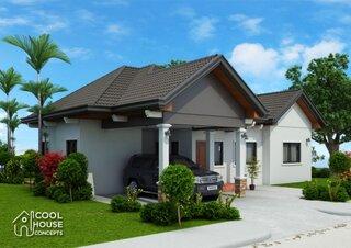 Proiect casa parter cu 3 dormitoare si terasa
