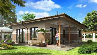 Casa pe structura de lemn parter cu 2 dormitoare