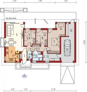 Plan partre casa vagon cu living si doua dormitoare