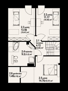 Plan mansarda casa cu 3 dormitoare