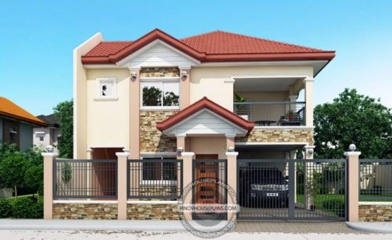 Proiect de casa cu mansarda cu 2 livinguri, 4 dormitoare si un garaj deschis