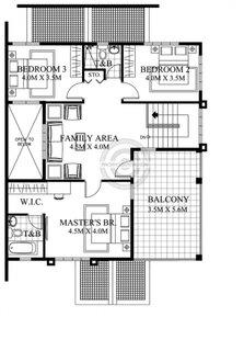 Plan etaj cu living 3 dormitoare si 2 bai