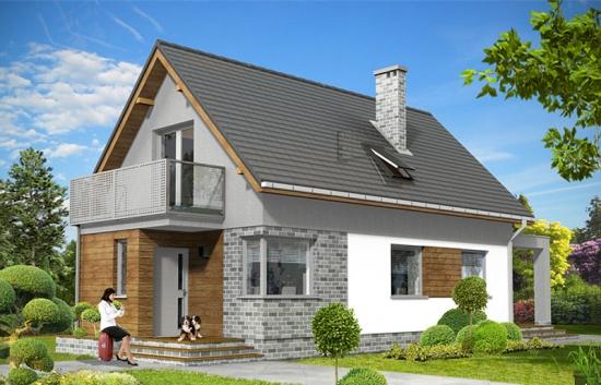 Proiect de casa cu acoperis in 2 ape si balcon la mansarda