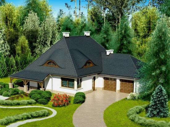 Proiect de casa cu mansarda in forma de L - imagini detaliate