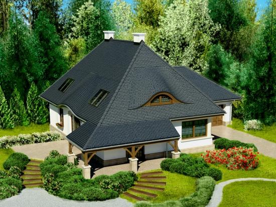 Casa cu mansarda inalta si lucarne arcuite