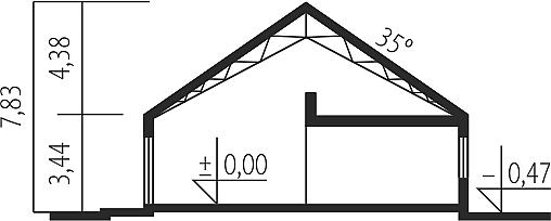 Plan vertical casa cu mezanin