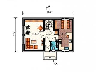 Plan parter casa 238 mp cu 5 dormitoare