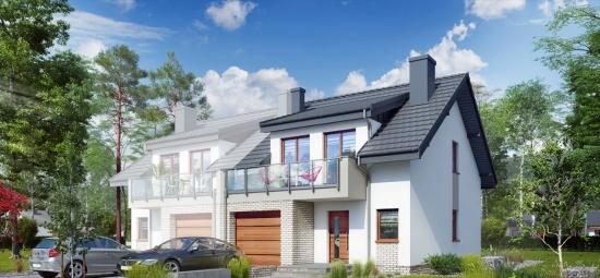 Proiect de casa duplex cu mansarda si garaj