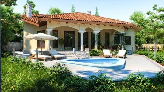 Proiect de casa mediteraneana fara etaj