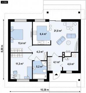 Plan parter casa cu doua camere