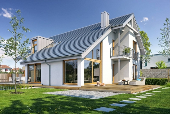 Model de casa cu mezanin si living inalt