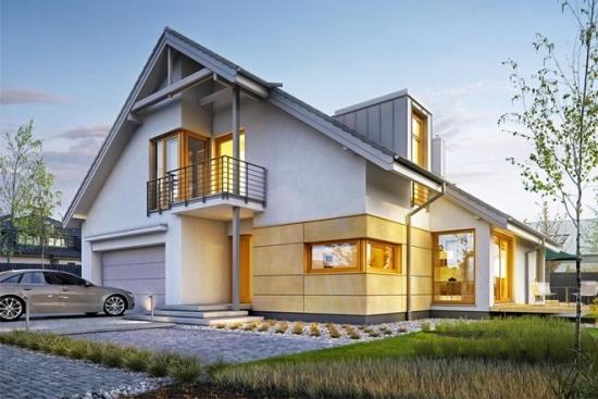 Proiect de casa moderna cu etaj partial (P+E)