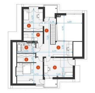 Schita etaj cu 3 dormitoare dressing si baie