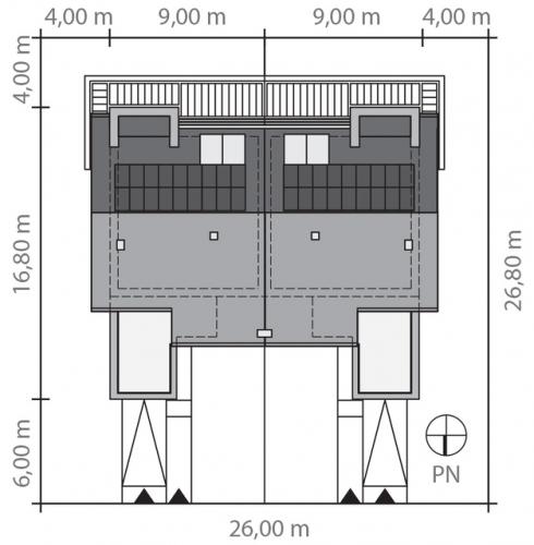 Case duplex cu latimea de 9 metri