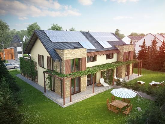 Model de casa pentru doua familii tip duplex