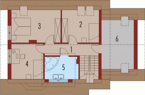 Plan etaj casa cu 4 dormitoare