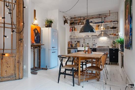 Amenajare interioara bucatarie stil bistro