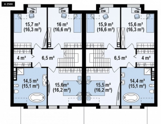 Plan mansarda duplex cu 6 camere