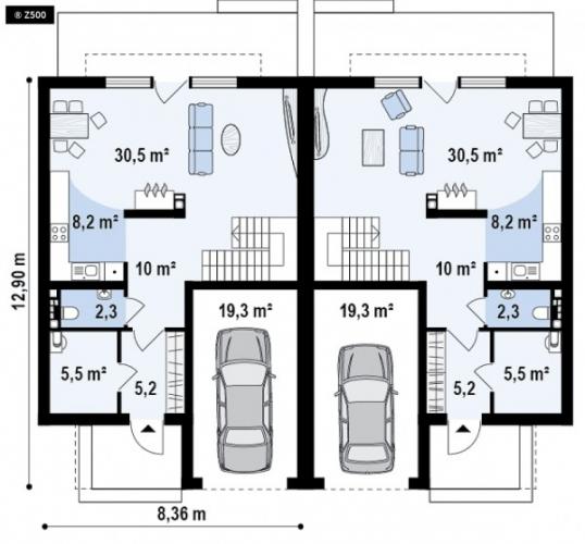 Plan parter duplex modern