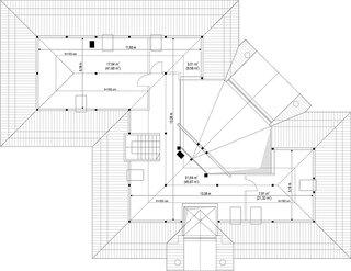 Plan mansarda cu mezanin  casa eleganta in Z