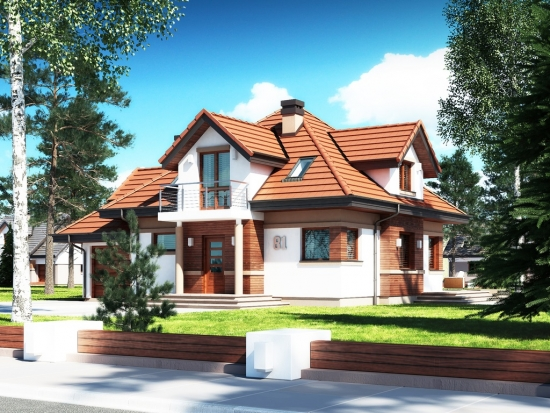 Casa cu mansarda cu acoperis 4 ape - proiect III