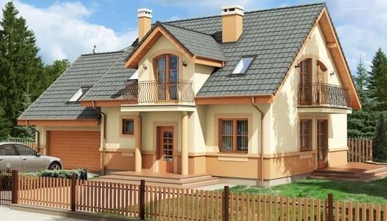 Casa cu mansarda si balcoane din fier forjat i proiect for Proiecte case cu garaj si mansarda