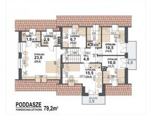 Etaj cu 4 dormitoare pe 80 mp - I proiect
