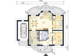 Parter cu 2 dormitoare living si bucatarie -  proiect II