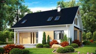 Casa cu fatada alba si ferestre si acoperis gri