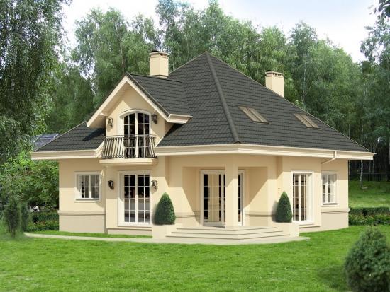 Casa cu mansarda cu forma patrata