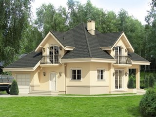 Casa cu mansarda si balcoane din fier forjat