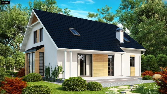 Casa mica cu mansarda moderna