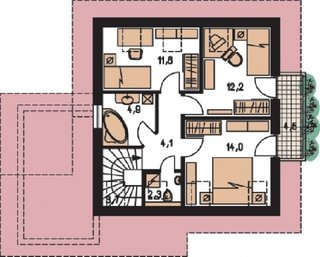 Mansarda cu 3 dormitoare si terasa