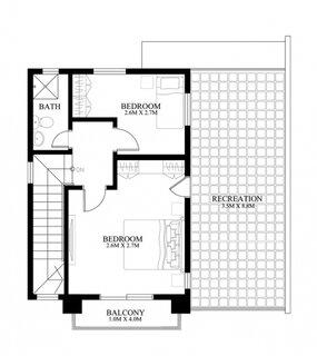 proiect 1 etaj casa ingusta cu 2 dormitoare si baie si terasa lunga