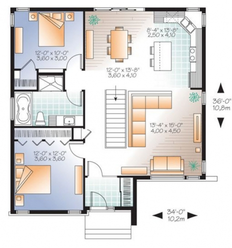 2 Plan casa cu 2 dormitoare suprafata 10.2 pe  10.8 metri