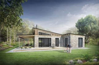 5 Casa la tara cu fatada din piatra si lemn