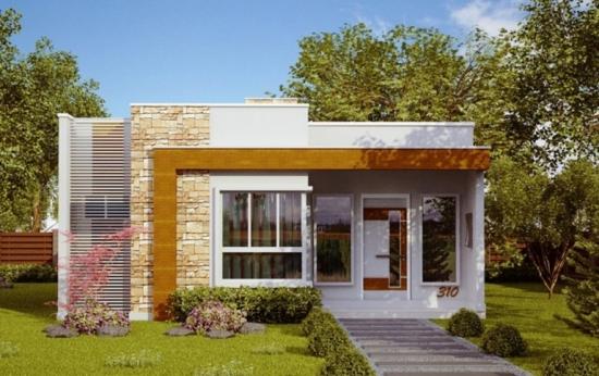 9. Casa mica moderna cu acoperis plan si fatada din piatra