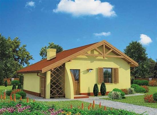 Proiecte case mici cu un dormitor plus living open space cu suprafete pana in 50 mp