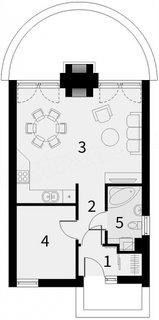 Plan casa mica cu un dormitor si living vedere spate