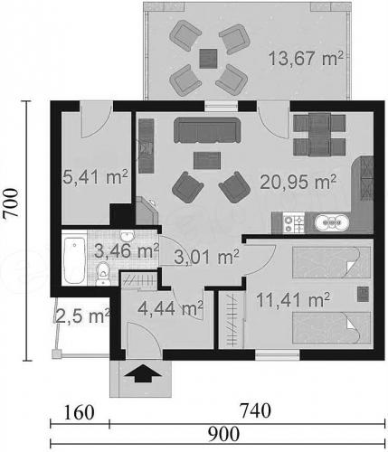 Schita plan parter casa cu 1 dormitor si living open space