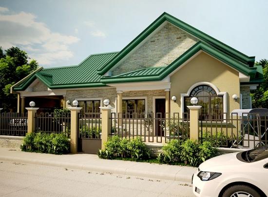 1 Casa mica cu fatada crem si acoperis verde