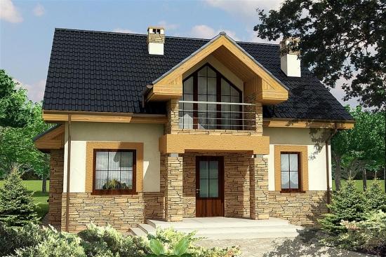 Casa cu balcon deasupra intrarii