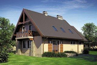 Casa cu mansarda cu fatada placata cu piatra