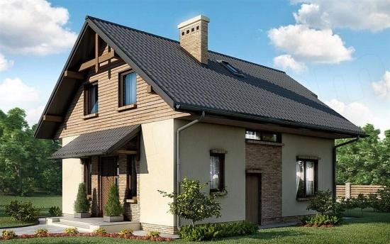Casa pe structura de lemn cu mansarda