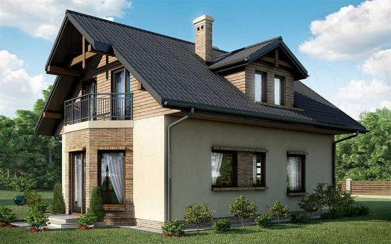 Model casa din lemn cu fatada tencuita